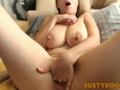 Horny BUSTY BABE With SAGGY TITS Loves HUGE DILDO - Fucks And SQUIRTS PUSSY - Suck MILKY NIPPLES!